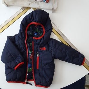 North Face navy blue reversible jacket size 3-6M
